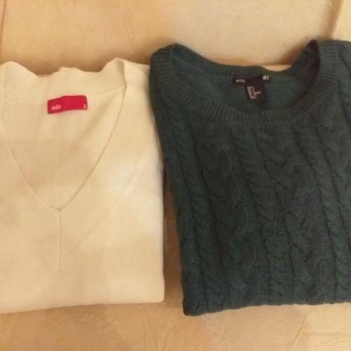 Deux Pulls laine le vert marque H&M le blanc marque EDC taille 36