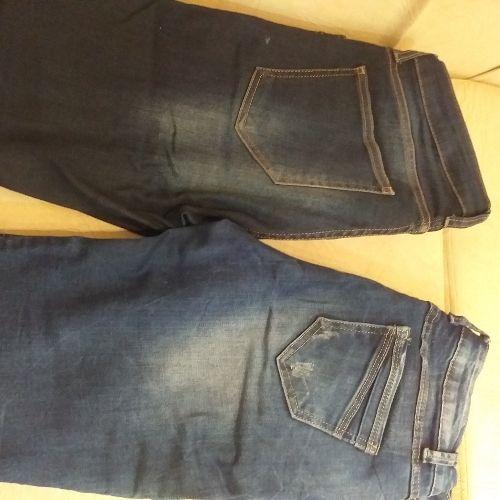 Deux pantalons jeans taille 38 couleur bleu maximo donati et denim