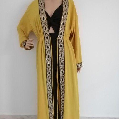 Sublime long kimono moutarde brodé... Taille réglable avec lien... Ilabess 36/38/40/42/44