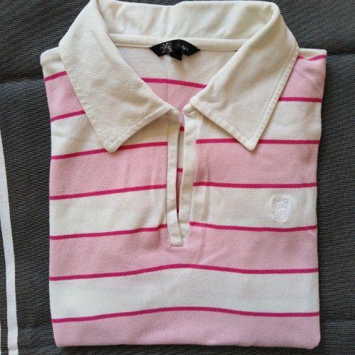 Polo rayé en rose et blanc