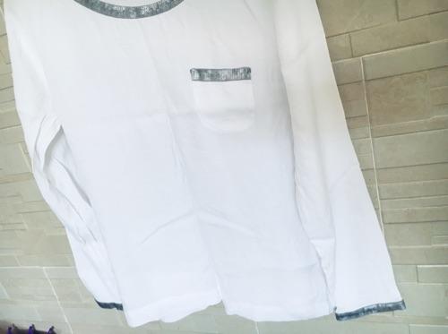 JONES magnifique couleur blanc éclatant details en sequins argent