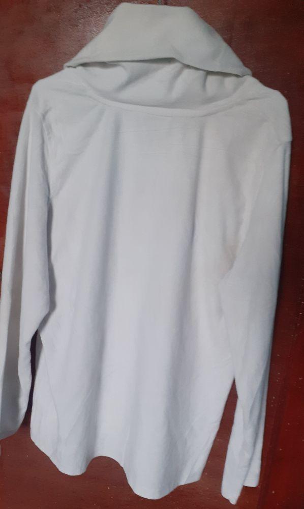 White cowl neck pullover
