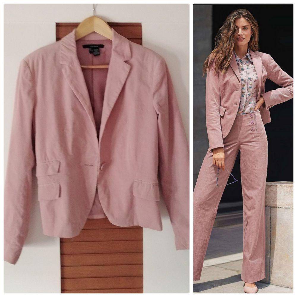 Blazer Zara en velours côtelé vieux rose tendance