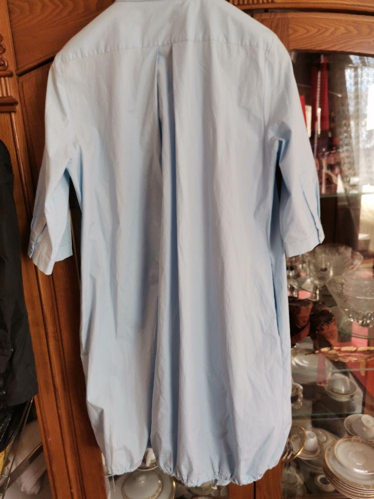 Chemise robe  bleu ciel Cotton lycra satinee