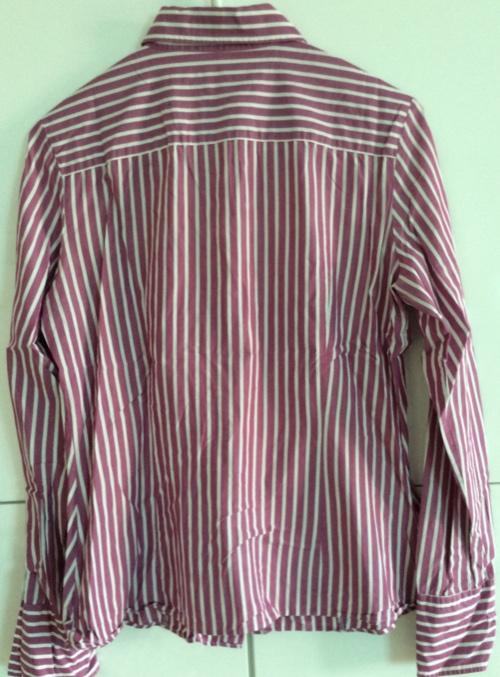 Benetton - chemise femme rayée rose fushia et blanc