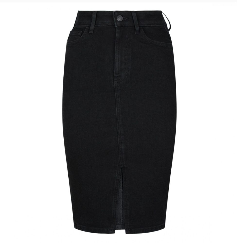 Jupe jeans droite avec des petits strasses a chaque coté