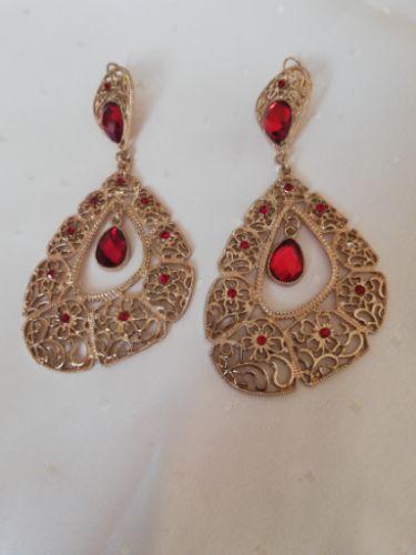 Boucles d'oreilles soirée dorées et rouge