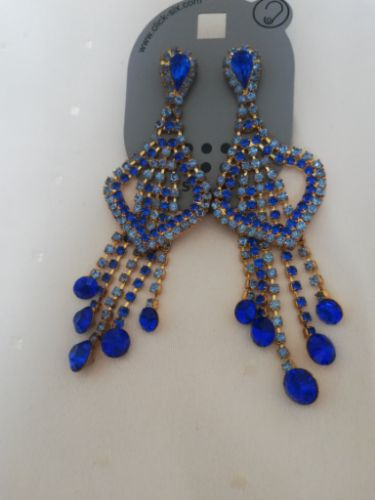 Boucles d'oreilles soirée bleues