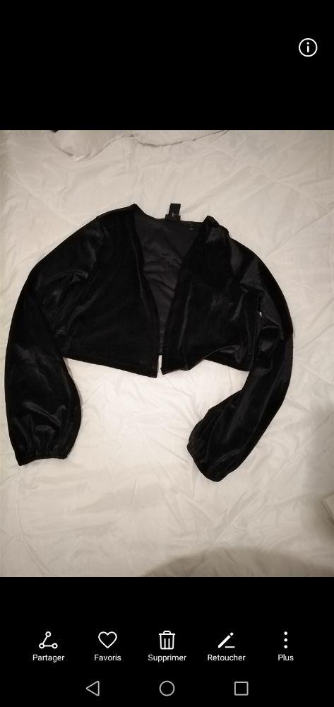 Gilet court noir en velours