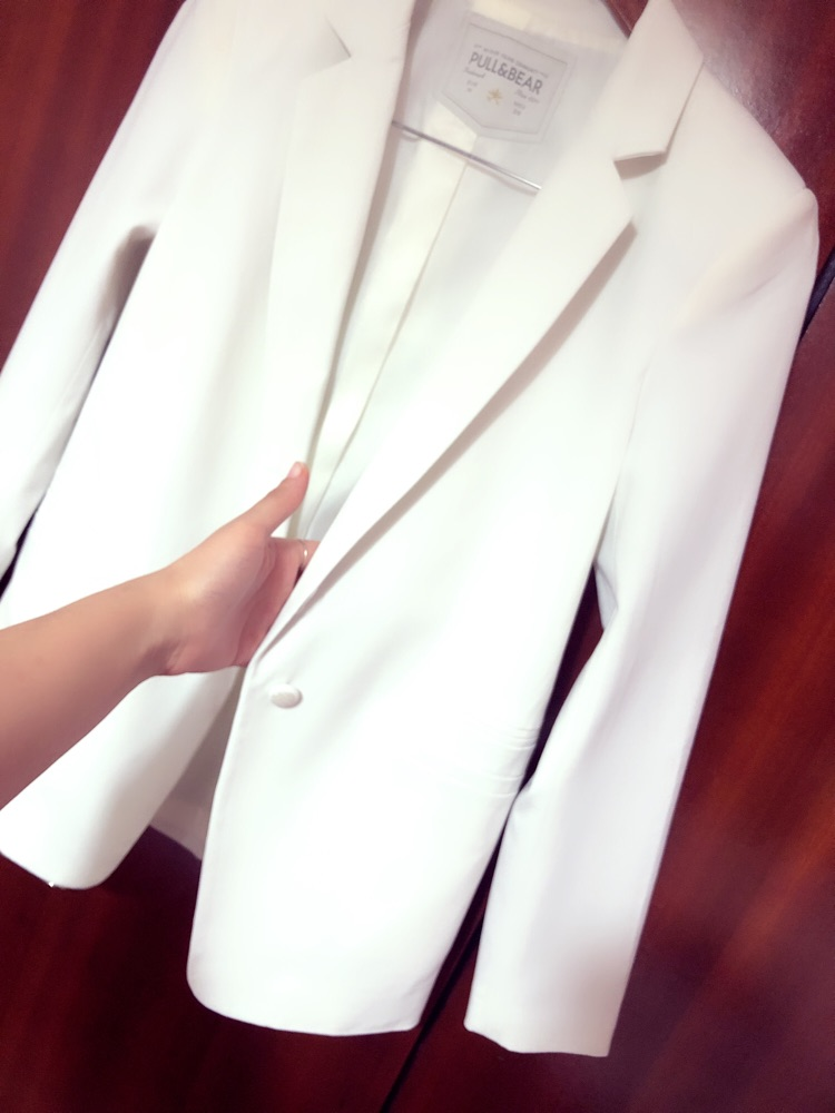Blazer Pull&bear blanc mi-long
