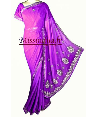 Sari violet neuf importé de l'inde
