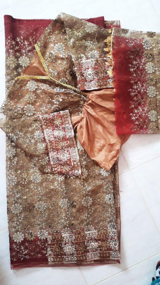 Sari indien rouge Bordeaux et beige nude