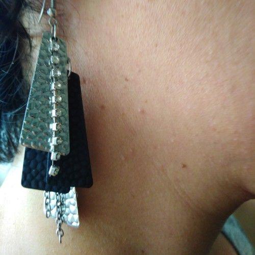 Boucles d'oreille noir argent strass