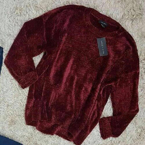 Pull velours rouge bordeau